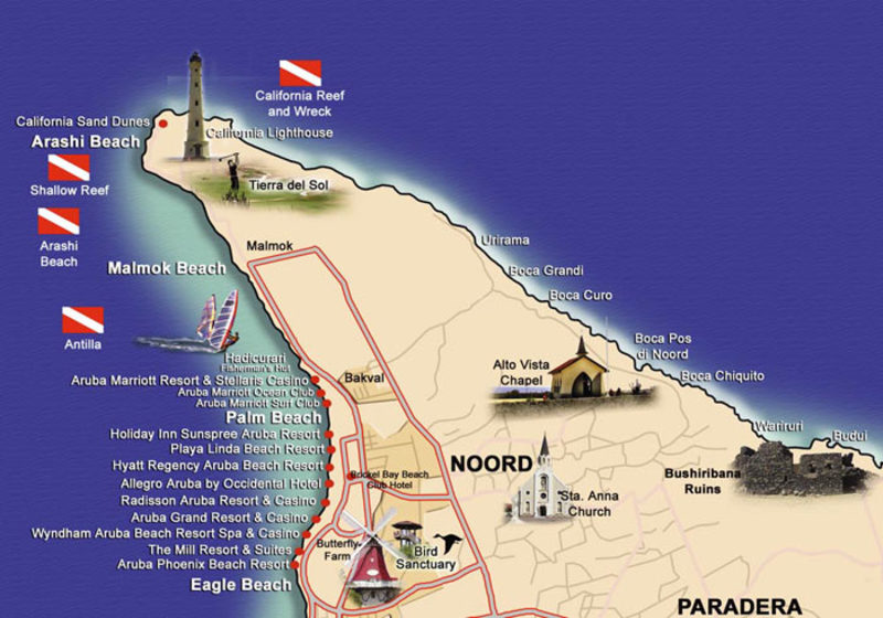 vacationhome aruba close to beach map
